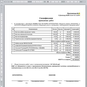 Спецификация-приложение к Договору по Сделке